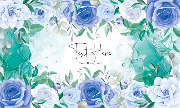 Элегантная цветочная рамка фон с синим цветочным орнаментом