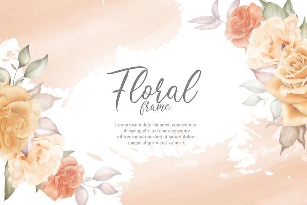 수채화와 꽃 장식으로 우아한 꽃 프레임 배경입니다. 꽃 그림
