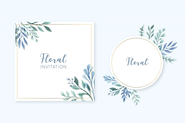 Elegant floral frame card set with watercolor leaves