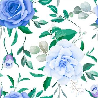 エレガントな花柄のシームレスなパターンの青い花