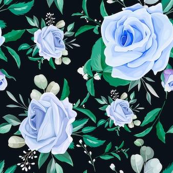 Elegant floral frame seamless pattern blue flower