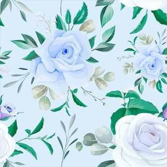 Elegante cornice floreale senza cuciture fiore blu