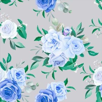 Элегантная цветочная рамка бесшовные модели синий цветок