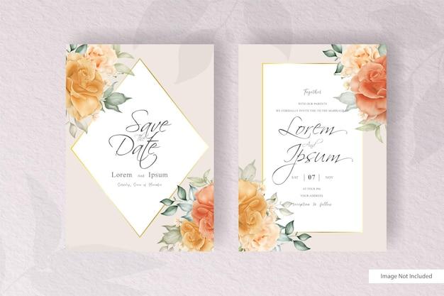 수채화와 꽃 장식으로 설정 우아한 꽃 프레임 웨딩 카드 템플릿. 꽃 그림