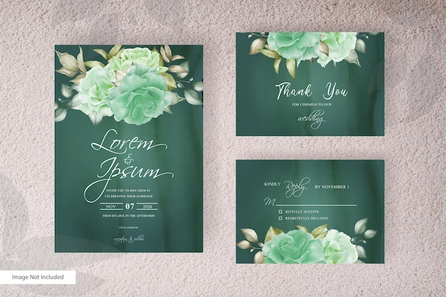 Elegant floral frame wedding invitation card template design