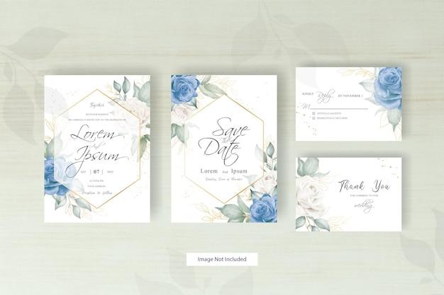 Elegant floral frame wedding invitation template set with hand drawn watercolor floral arrangement
