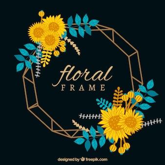 Elegant floral frame with flat design