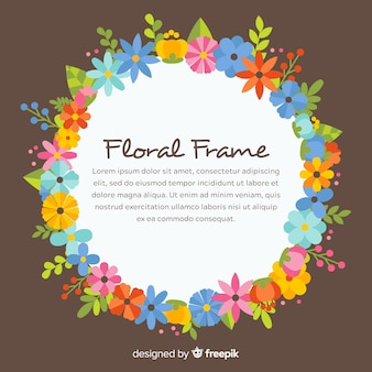 Elegant floral frame with flat design