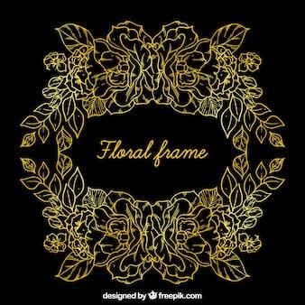 Elegant floral frame with golden lines
