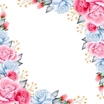 Elegant floral frame with watercolor flowers
