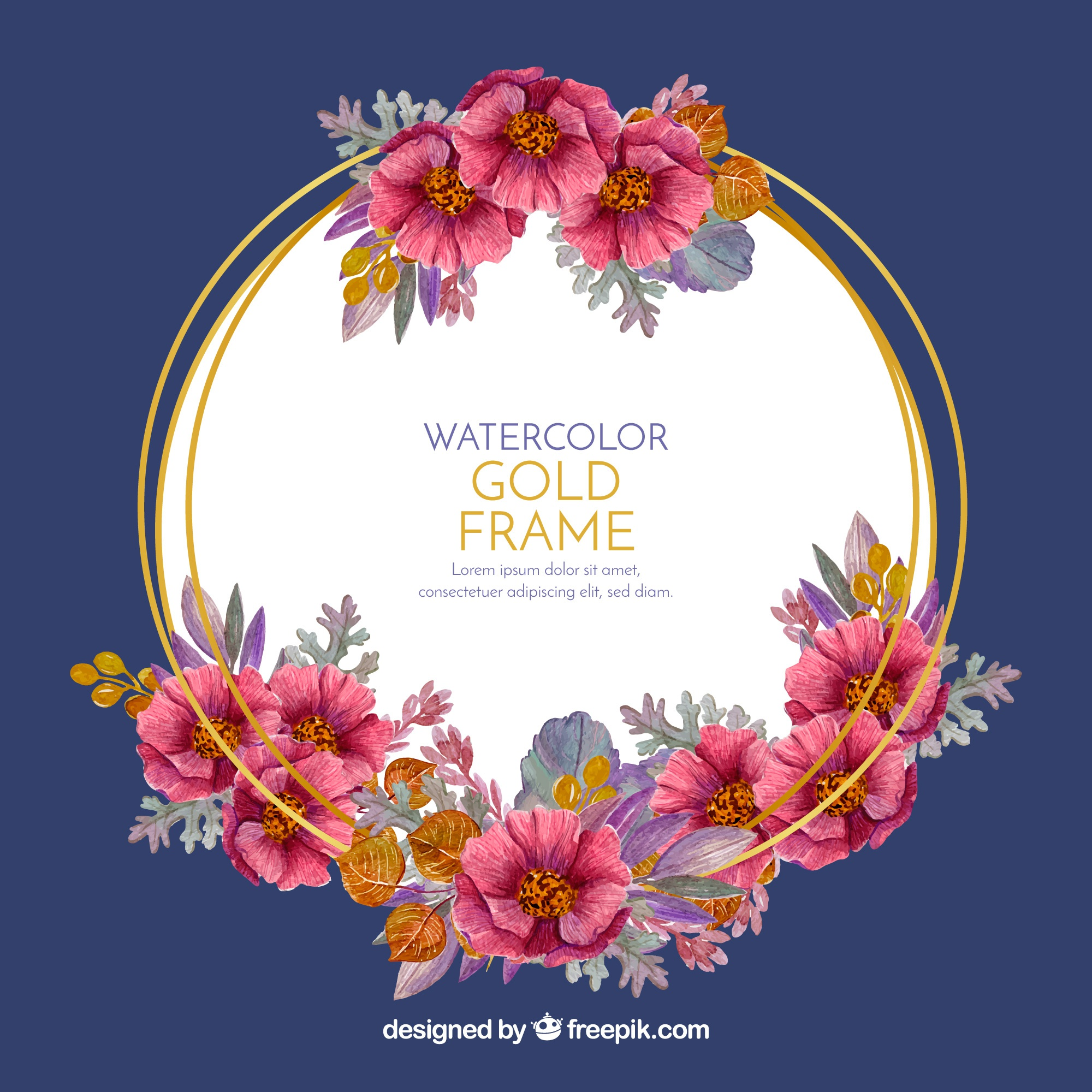 Elegant floral frame with watercolor style