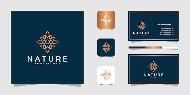 Elegant floral gold with line art style. logos can be used for beauty, cosmetics, yoga and spa. logo and business card