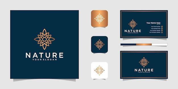 라인 아트 스타일의 우아한 플로랄 골드. 로고는 미용, 화장품, 요가 및 스파에 사용할 수 있습니다. 로고 및 명함