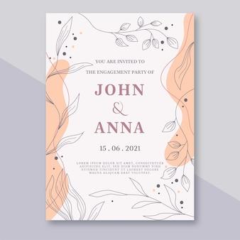 エレガントな花柄の手描きの装飾品婚約招待状テンプレート