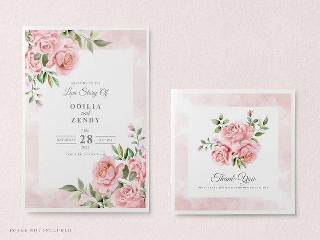 Элегантный цветочный ручной обращается шаблон свадебного приглашения