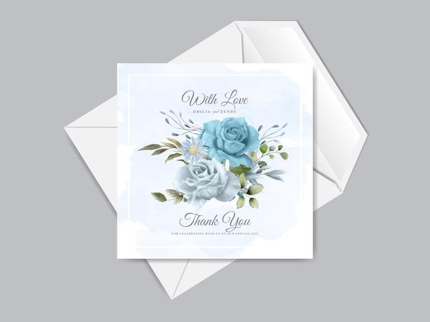 우아한 꽃 손으로 그린 청첩장 카드 템플릿