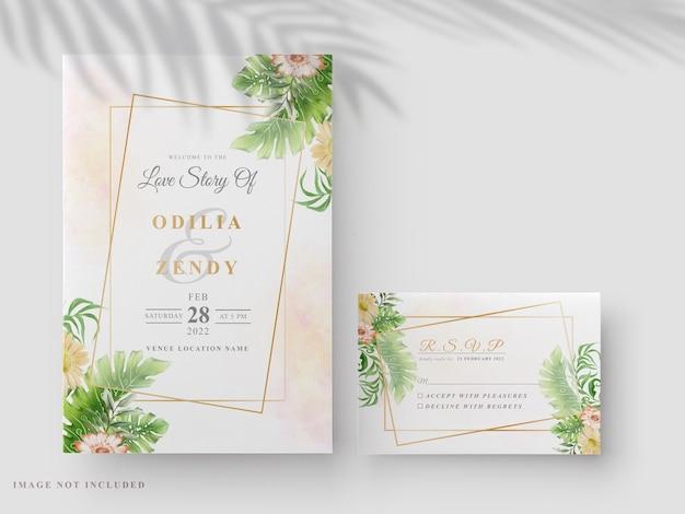 Elegant floral hand drawn wedding invitation card template