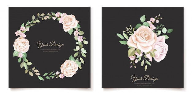 Elegant floral invitation card template