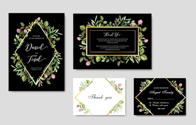 Elegant floral and leaves wedding and invitation card template