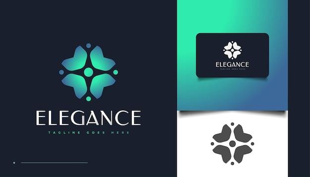 Элегантный цветочный шаблон дизайна логотипа в сине-зеленом градиенте