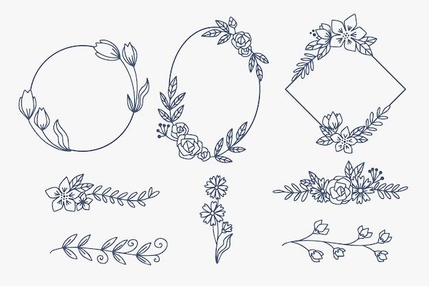 Cornici eleganti ornamento floreale