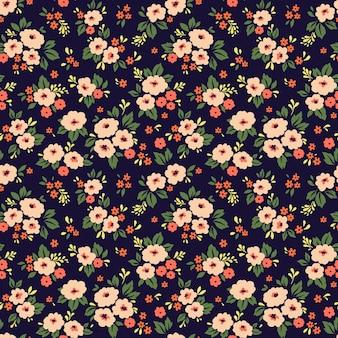 小さな珊瑚の花のエレガントな花柄。ファッションプリントのシームレスな背景。
