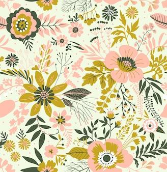 小さなピンクとゴールドの花のエレガントな花柄。リバティスタイル。ファッションプリントのための花のシームレスな背景。ちっぽけなプリント。シームレスなテクスチャ。春の花束。