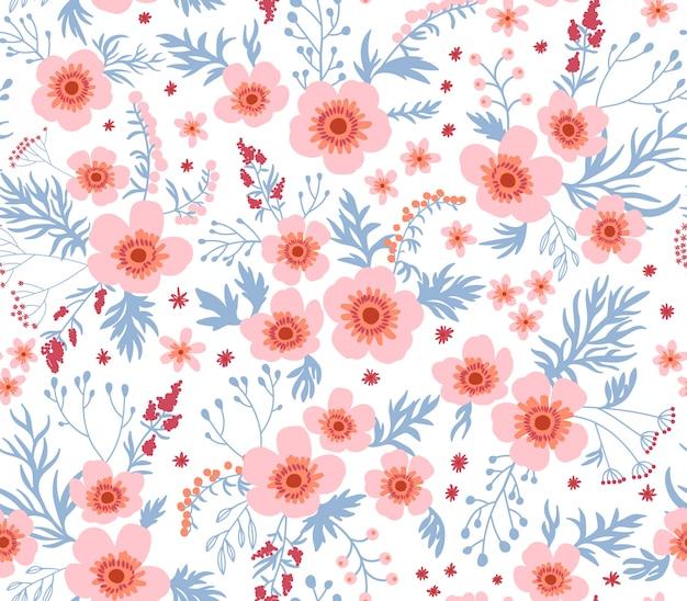 小さなバラの花でエレガントな花柄。リバティスタイル。ファッションプリントのシームレス花柄。
