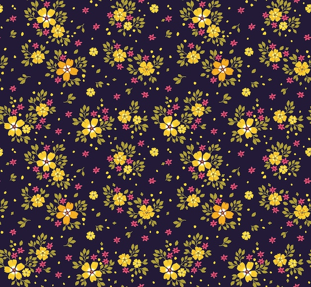 小さな黄色い花のエレガントな花柄。ファッションプリントのシームレスな背景。