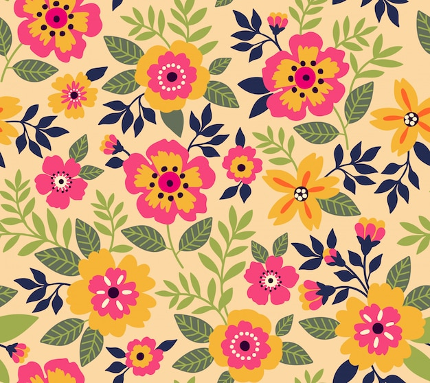 Elegant floral pattern in small flowers. liberty style. floral seamless background.