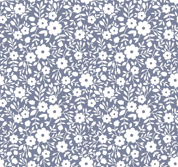 Elegant floral pattern in small white flowers. seamless background for fashion print.