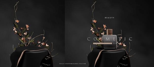 Elegant floral podium scene for cosmetic product presentation