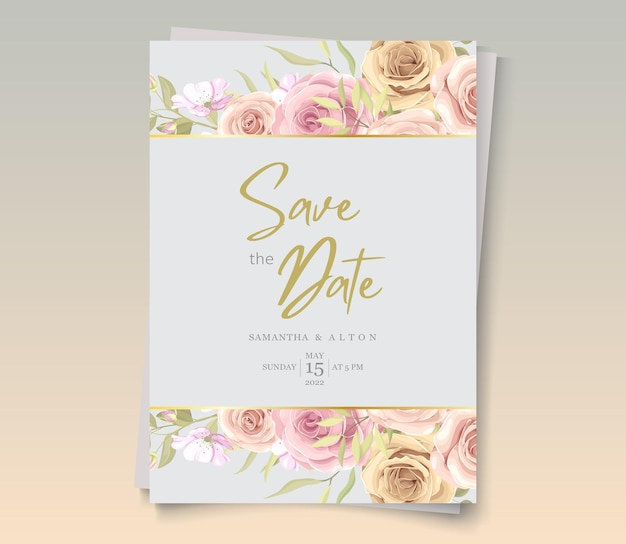 Elegant floral save the date invitation
