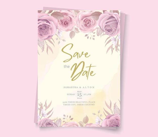 エレガントな花柄の日付の招待状を保存