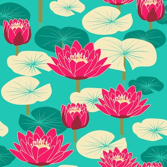Elegant floral seamless pattern with lotus over blue background