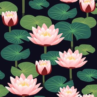 黒の背景に蓮とエレガントな花のシームレスなパターン