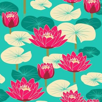青い背景の上に蓮とエレガントな花のシームレスなパターン