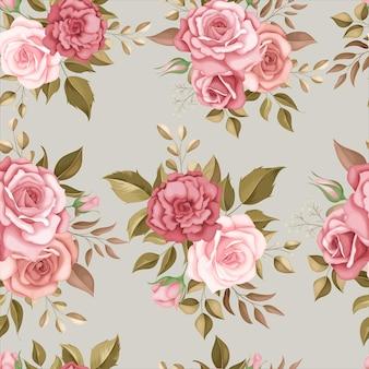 ロマンチックなバラとエレガントな花のシームレスなパターン