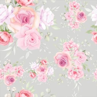 柔らかい花の装飾が施されたエレガントな花柄のシームレスパターン