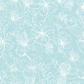 Elegant floral seamless pattern with tender blooming flowers of japanese sakura tree hand drawn with white lines on blue background. illustration for wallpaper, textile print, wrapping paper.