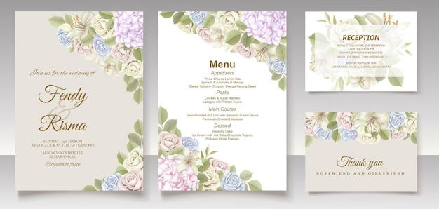 우아한 꽃 템플릿 웨딩 카드 및 메뉴