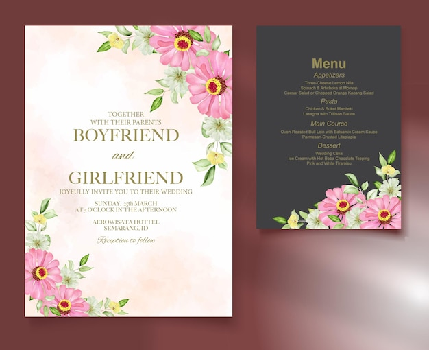 Elegant floral template wedding card watercolor