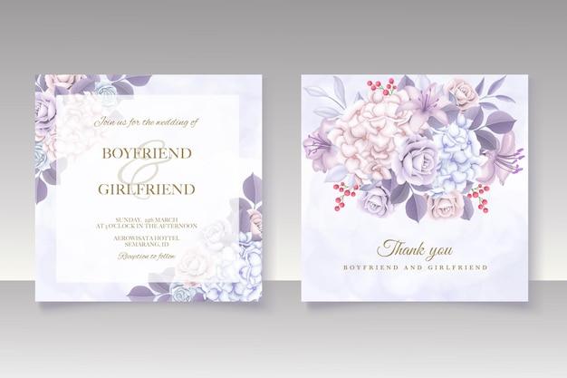 우아한 꽃 템플릿 웨딩 카드