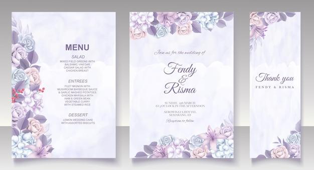 Элегантный цветочный шаблон свадебной открытки