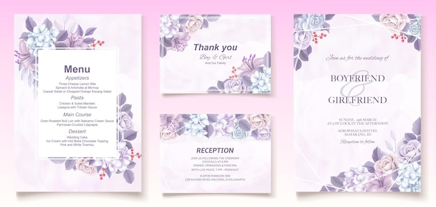 Elegant floral template wedding card