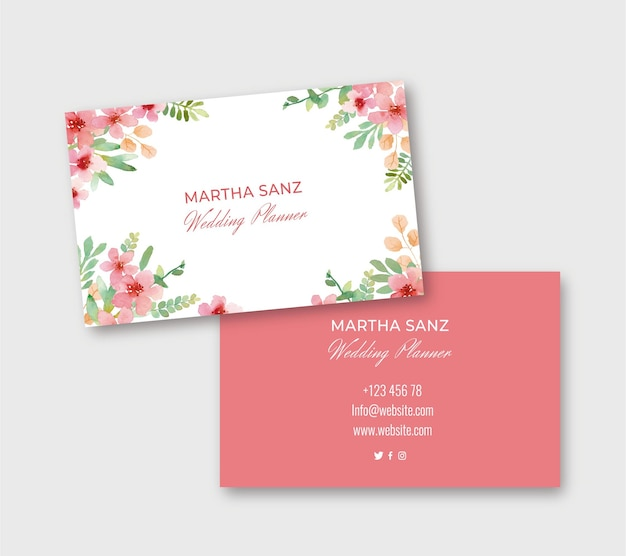 Elegant floral watercolor business card