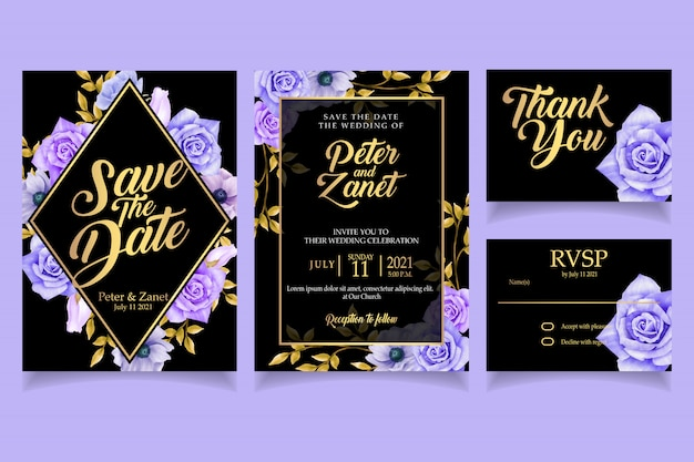 Elegant floral watercolor invitation card template luxury
