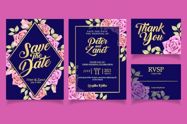 Elegant floral watercolor invitation card template rose