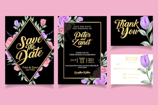 Elegant floral watercolor invitation card template wedding