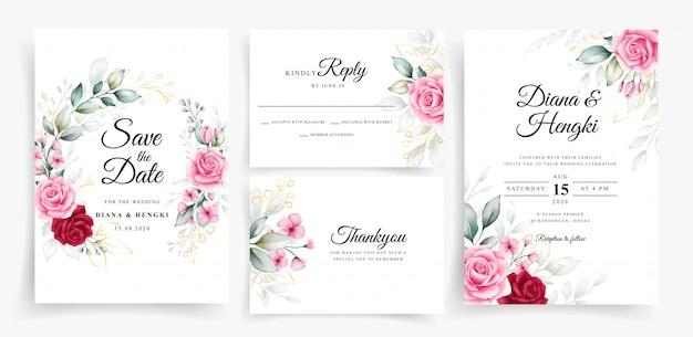 설정된 웨딩 카드 초대장 서식 파일에 우아한 꽃 수채화